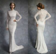 High-end High-neck Mermaid Lace White Wedding dress Long Sleeve Bridal gown 2016