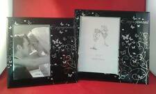 Black Glass Engagement Photo Frame Ft Glitter Butterfly and diamante Detailing