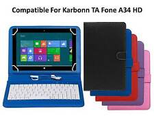 Premium Leather Finished Keyboard Tablet Flip Cover For Karbonn TA Fone A34 HD