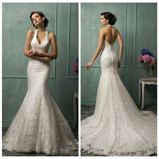 Sexy Halter Lace Wedding dress Backless Mermaid Bridal Gowns Custom 2 4 6 8 10++