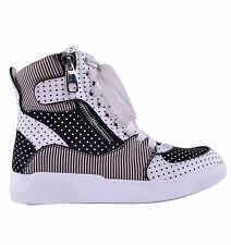 DOLCE & GABBANA High-Top Zip-Up Sneakers Polka Dot Schwarz Weiß Sneaker 04629