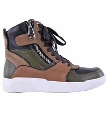 DOLCE & GABBANA High-Top Sneakers mit 2 Zipper Khaki Braun Made in Italy 04628