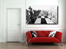Chess Board Black and White Canvas Art Poster Print Wall Decor