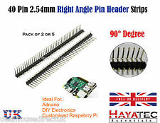 "40 Pin RIGHT ANGLE Pin Header Pins Strip 0.1"" 2.54mm 90 degree Breadboard UK"