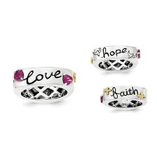 Sterling Silver Rhodolite Garnet Faith Hope Love Word Ring 7.29 gr Size 6 to 8