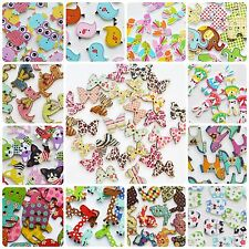 Mixed Wooden Animal Buttons Assorted Colours Designs Sewing Scrapbooking Craft