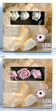 ROSE BIANCHE ROSA LED catena luminosa 10 rose cm 4,5 lunghezza cm 90 per interni