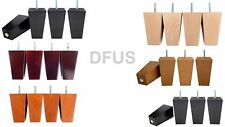 4x SOLID WOODEN BLOCK FEET FURNITURE SOFA CHAIR FOOTSTOOL LEGS 6 COLOURS  LW1512