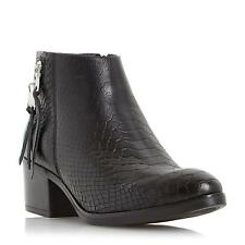Dune Ladies PIPINN Double Zip Detail Leather Ankle Boot in Black