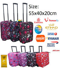WHEELED LIGHTWEIGHT CABIN HAND TROLLEY TRAVEL HOLIDAY LUGGAGE CASE BAG EASYJET
