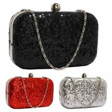 Sequin Clutch Bag Black Red Silver Ladies Evening Handbag Wedding Party Prom New