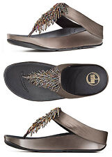 Brand New FitFlop 336-289 Women's Nimbus Silver Cha Cha Thong Sandals