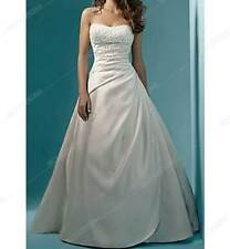 White Beading Sequined Strapless Satin A-Line Wedding Dress Bridal Gown
