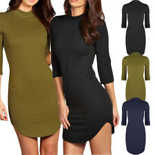 Ladies Womens Polo Turtle Neck Curved Hem Mini Bodycon Textured Dress 3/4 Sleeve