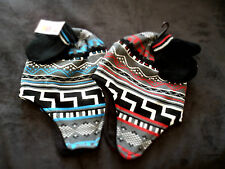 Baby Boys Aztec Style Lined Hat with Ear Covers & Mitts Set. Pesci Kids