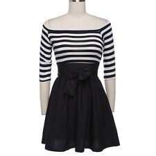 Fashion Sexy Womens Long Sleeve Striped Bodycon Casual Mini Short Dress SKUK