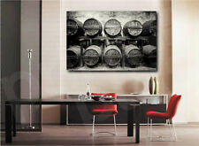 Black and White Wine Cellar Barrels Winery Art Canvas Poster Print Home Decor
