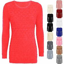 NEW WOMENS LADIES FLUFFY FUR LONG JUMPER SOFT FAUX KNITTED WARM TOP DRESS 8-16