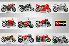 1:18 Scale Diecast Model Motorcycle Selection By Burago. Choose Your Model(s)