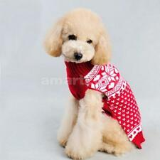 Christmas Snowflake Pet Dog Puppy Warm Sweater Clothes Coat Apparel Size XXS-M
