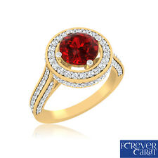 0.48 Ct Real Diamond Natural Ruby Ring 100% 14K Hallmarked Gold Cocktail Ring
