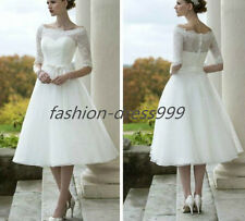 Stock White/Ivory Lace Tea Length Sweetheart Wedding dress Size 6-8-10-12-14-16