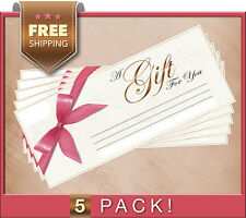 NEW! Blank Lines Gift Certificate Coupon Voucher 5-Pack! 8