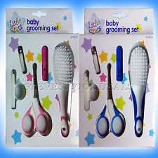 BABY GROOMING SET HAIR BRUSH NAIL CLIPPERS SAFETY SCISSORS & SLEEVE PINK BLUE