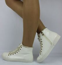 New Women White Sneakers Trainers Hi Top Ankle Boots Shoes LACE UP Sizes 3-8