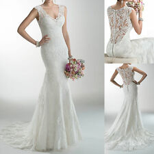 Mermaid Cap Sleeve Lace Bridal Gowns V-neck White / Ivory Lace Wedding dresses
