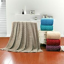 Soft Plush Micro fleece Leaf Etched Jacquard Bed Throw Over Blanket 50X60
