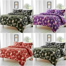 BLOOMSBURY FLORAL BLACK PURPLE RED DUVET QUILT COVER PILLOWCASE BED SET ALL SIZE