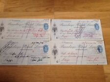 Barclays Bank Ltd Pontypridd 4 Cheques from 1941. No. V300316 to V300319