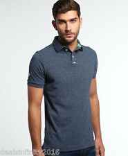 Super Dry Classic Pique Polo Shirt- Eclipse Navy Grindle