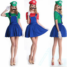 da donna UK MARIO LUIGI Costumi Adulto Super Idraulico Bros 4 6 8 10 12 14 16