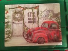 Clearance Sale--Holiday Glass Cutting Board--A Peek at the Past