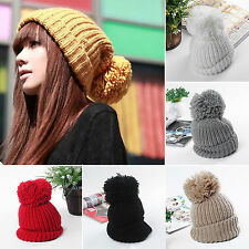 Women/ Girls Pom Bobble Slouch Knitting Cap Winter Warm Beanie Crochet Ski Hats