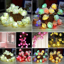 2M / 20LED Rose Flower Battery Operated String Fairy Light Home Party Xmas Decor