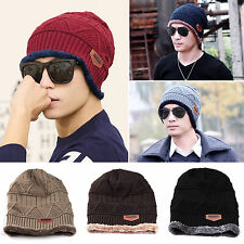 Men/ Boy Winter Warm Fleece Crochet Knitted Hat Beanie Hats Plain Skull Cap Hat