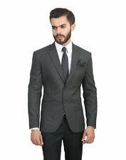 Mens Grey/Black slim fit blazer coat jacket+Slim Tie+Pocket Square+Hanger+Cover