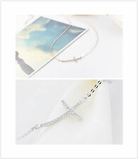 """Rose Gold Plated Solid 925 Sterling Silver Crystal Cross Pendent Necklace 18"""""""