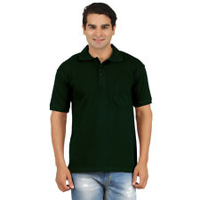 Collar Tshirts With Pocket Bottle Green