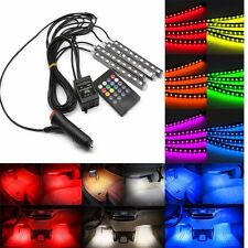 4 Strip LED Car SUV Interior RGB Atmosphere Decorative Light Neon Lamp Bulbs 12V