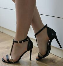 LADIES BLACK HIGH HEELS ANKLE STRAP SEXY OPEN TOE SANDALS SHOES SIZE