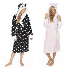 Ladies Womens Novelty Panda Bunny Dressing Gown Hooded Robe NEW