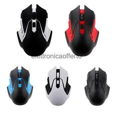 Mouse di Gioco Ottico 2.4GHz 3200Dpi Wireless Per Laptop Computer Portatile
