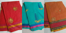 Kota Doria Cotton Saree (with Blouse) embroidere with yarn ( computer work )