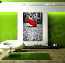 Red Umbrella Black and White Paris Street Canvas Art Poster Print Wall Decor