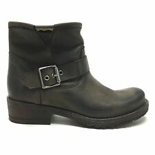 Stivaletti biker boots marroni morbidi in nabuk fibbia vera pelle made in italy