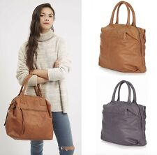 Topshop Soft Grey Tan Large Leather Twin Handle Grab Bag Holdall Tote Wkend Bag